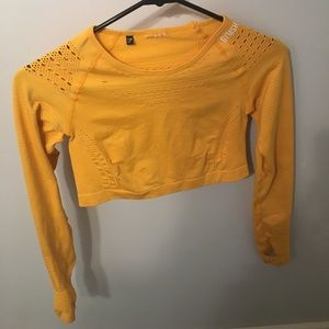Gymshark flawless knit yellow crop top Small